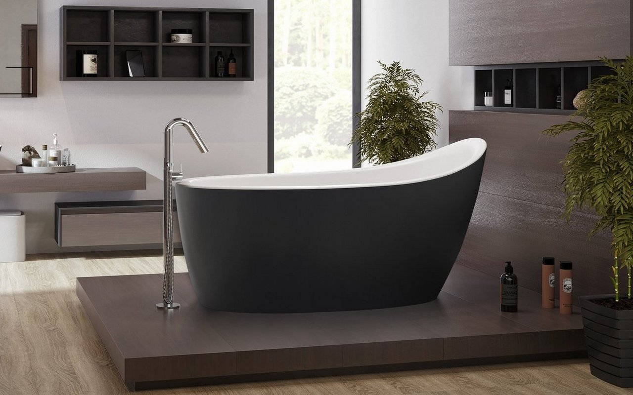 Aquatica Emmanuelle 2 Blck-Wht Freestanding Solid Surface Bathtub picture № 0