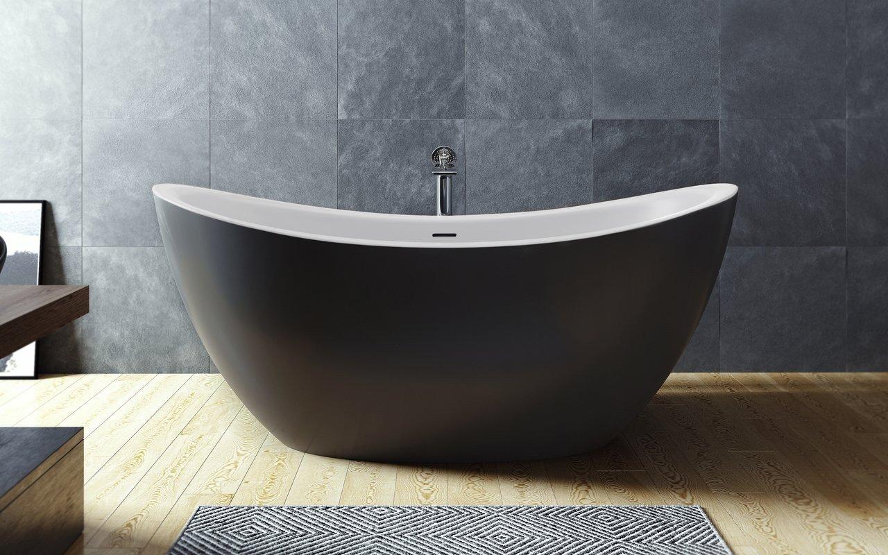 Aquatica Purescape 171M-Blck-Wht Freestanding Solid Surface Bathtub picture № 0