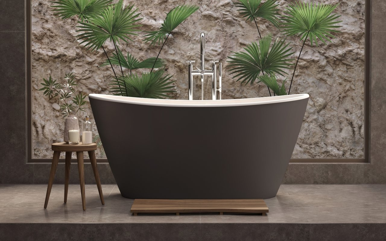 Aquatica Luna Grey Brown-Wht Solid Surface Bathtub picture № 0