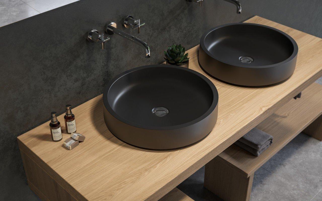 Aquatica Solace-A-Blck Round Stone Bathroom Vessel Sink picture № 0