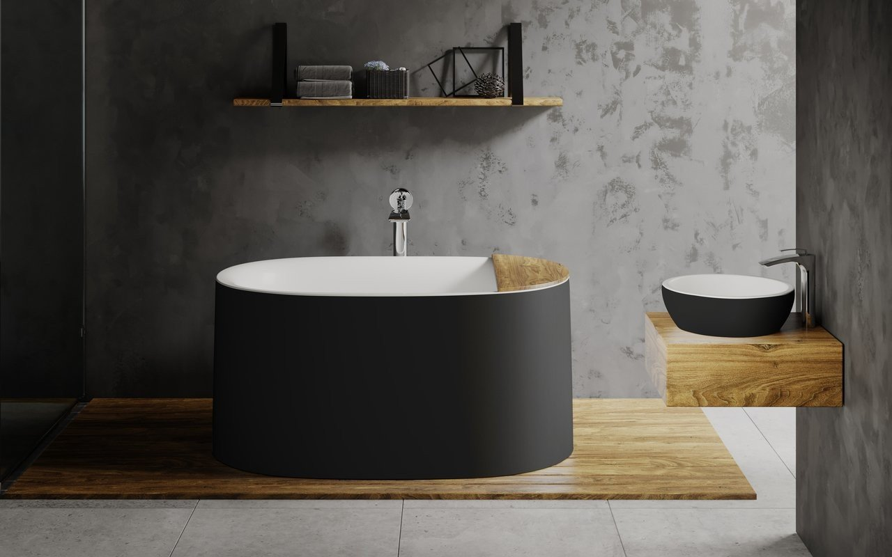 Aquatica Sophia-Blck-Wht Freestanding Solid Surface Bathtub - Fine Matte picture № 0
