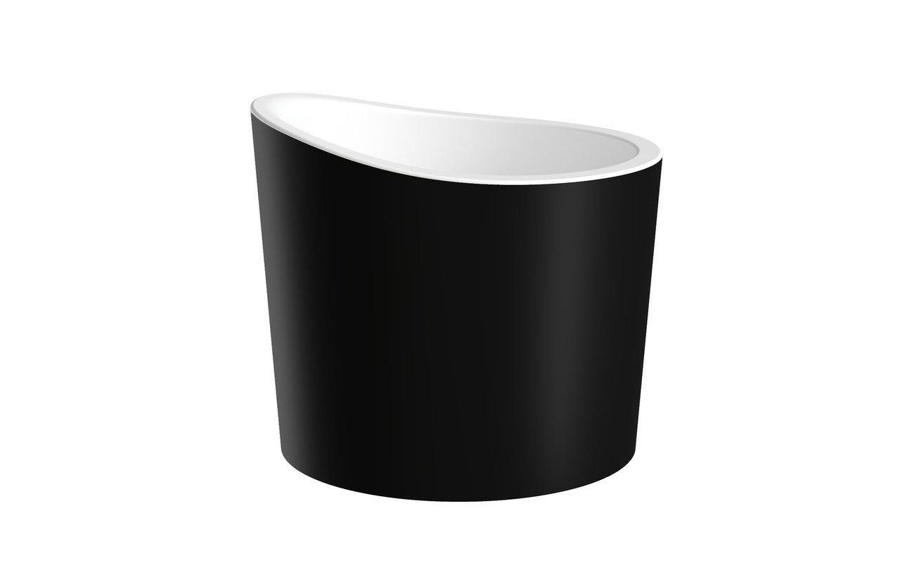 Aquatica True Ofuro Mini-Blck-Wht Freestanding Stone Japanese Soaking Bathtub picture № 0
