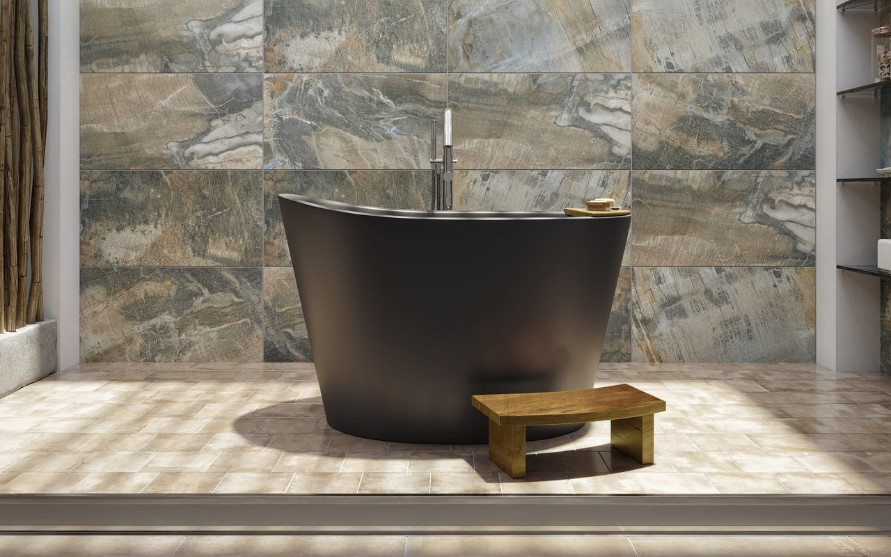 Aquatica True Ofuro Black Freestanding Stone Japanese Soaking Bathtub picture № 0