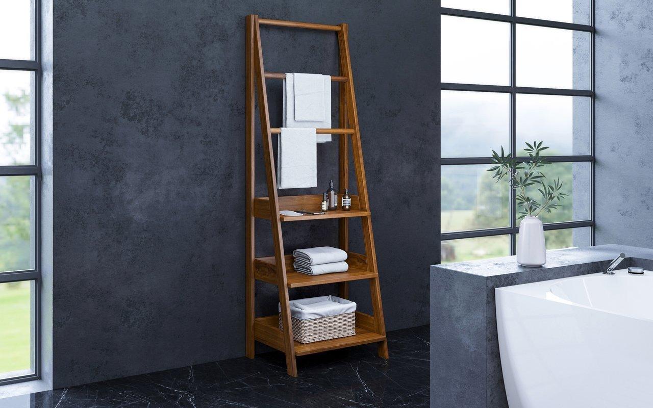 """Aquatica Universal 70.75"""" Waterproof Iroko Wood Bathroom Ladder Shelf picture № 0"""