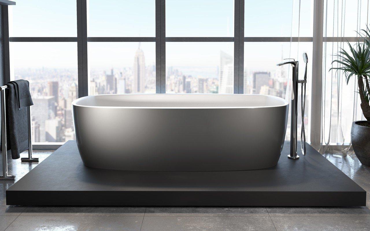 Aquatica Coletta™ Gunmetal-Wht Freestanding Solid Surface Bathtub picture № 0