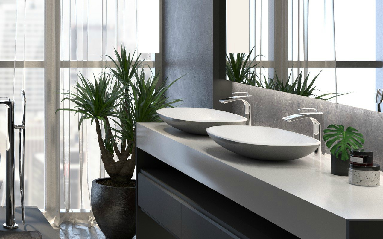 Aquatica Coletta-B Gunmetal-Wht Stone Bathroom Vessel Sink picture № 0