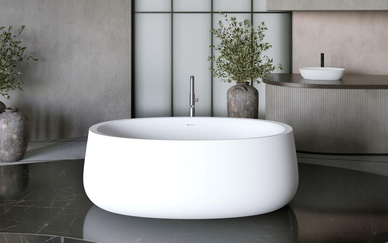 Aquatica Leah White Freestanding Solid Surface Bathtub picture № 0
