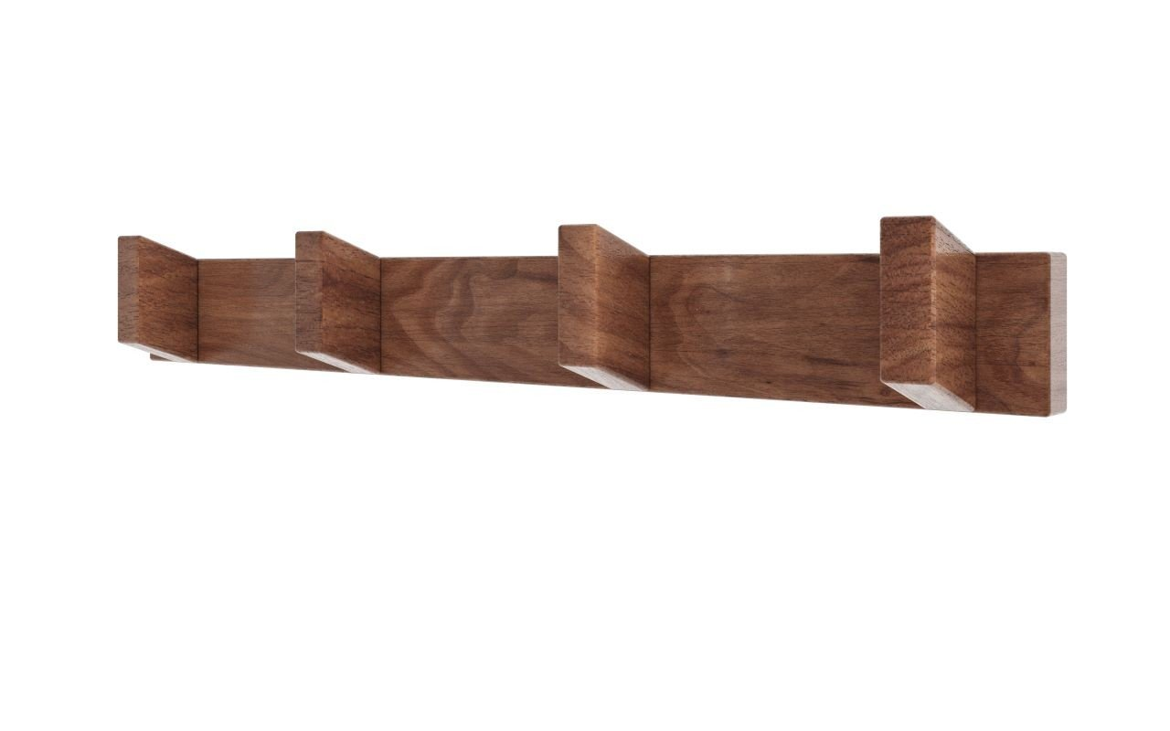 Aquatica Universal 19.75 Waterproof 4 Hook Wall Mounted American Walnut Wood Rack02