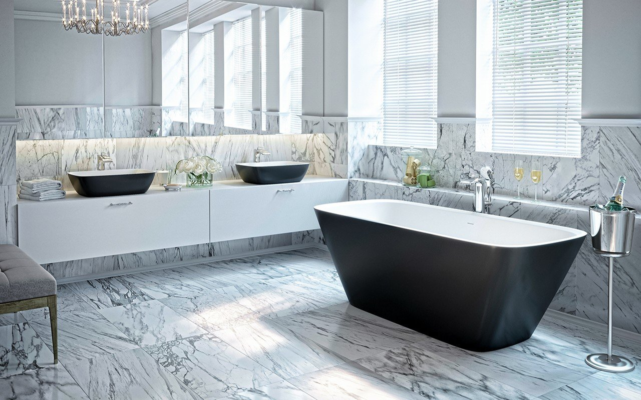Arabella Black White Freestanding Solid Surface Bathtub by Aquatica web (1)