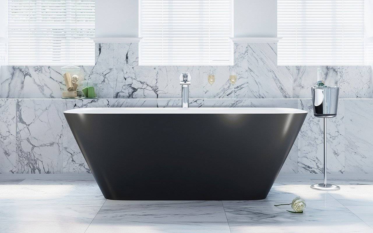 Arabella Black White Freestanding Solid Surface Bathtub by Aquatica web (5)