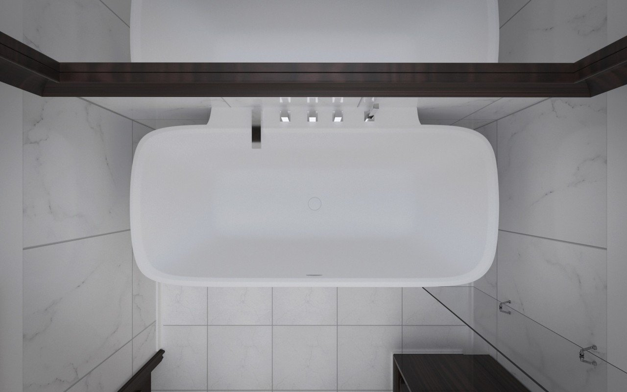 Arabella Wall Stone Bathtub 3D 6