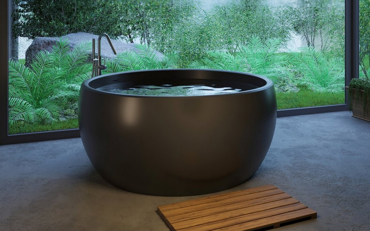 Aquatica Aura Black Round Freestanding Solid Surface Bathtub picture № 0
