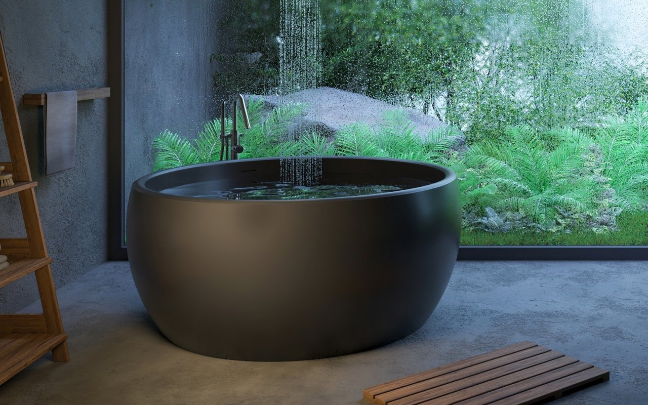 Aquatica Aura Mini Black Round Freestanding Solid Surface Bathtub picture № 0