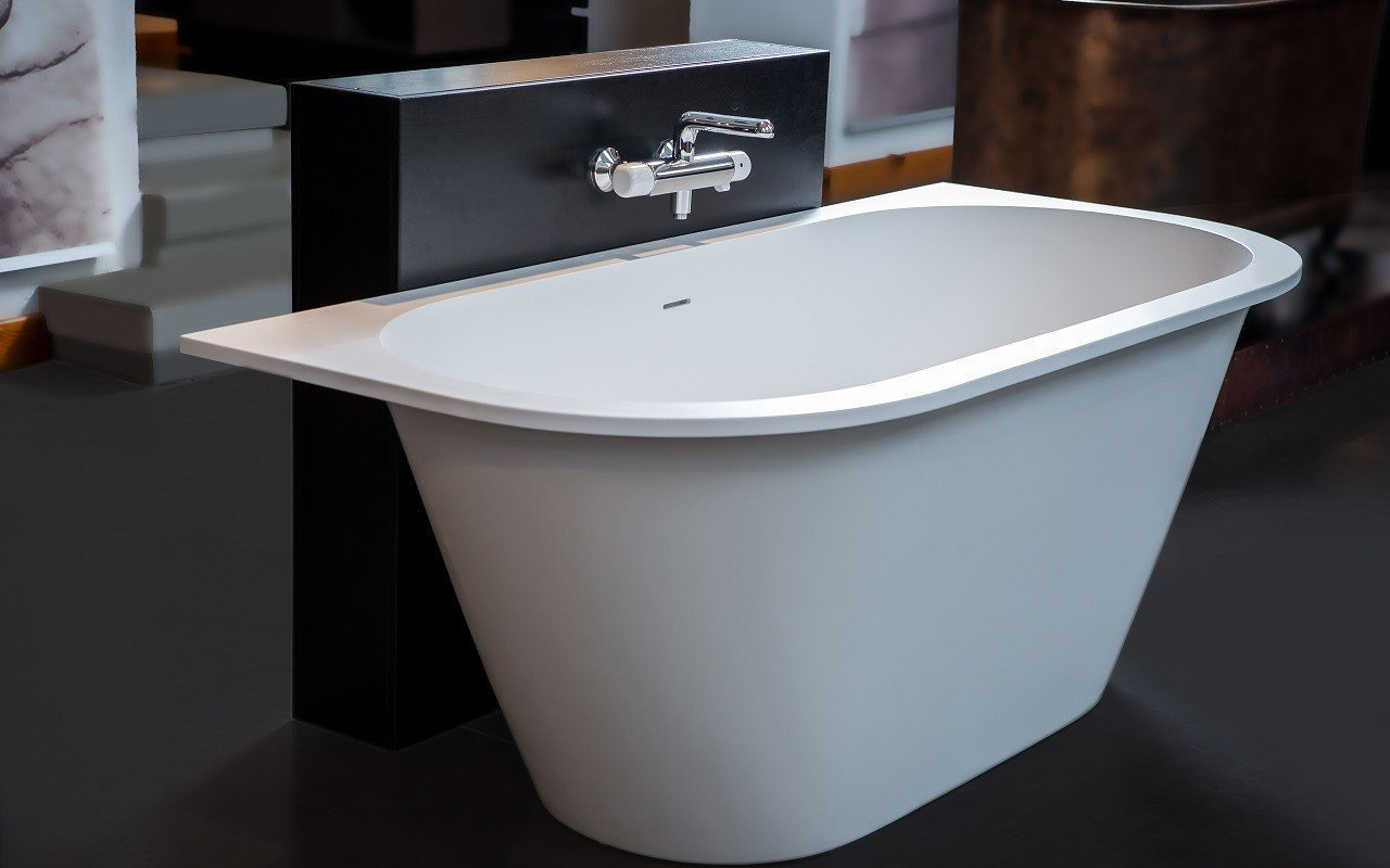 Inflection B Back to Wall Cast Stone​ Bathtub by Aquatica web 8672 1