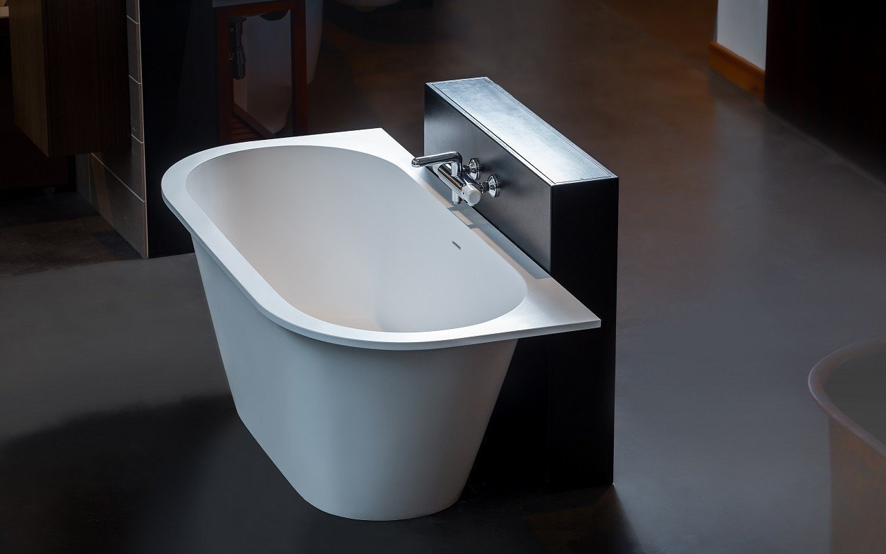 Inflection B Back to Wall Cast Stone​ Bathtub by Aquatica web 8694 Edit