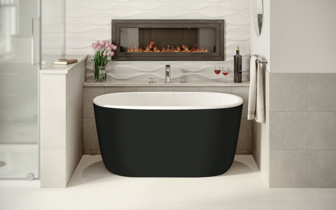 Aquatica Lullaby-Nano-Blck-Wht™ Small Freestanding Solid Surface Bathtub picture № 0