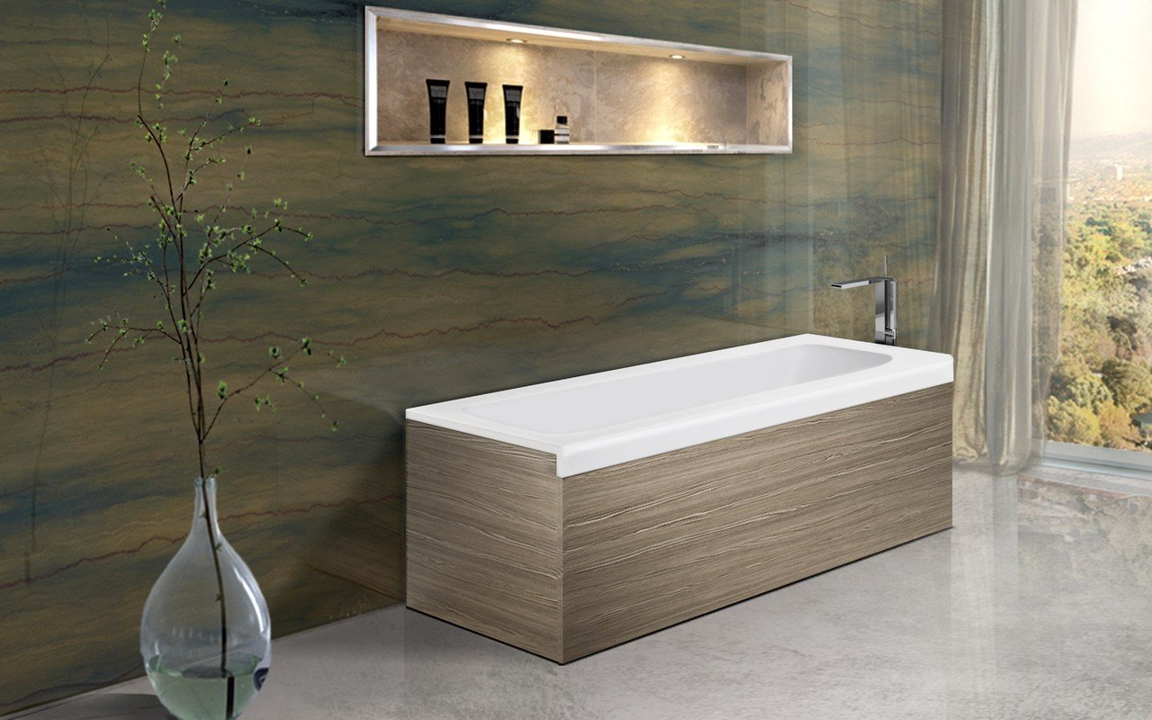 Aquatica Pure 1L Back To Wall Solid Surface Bathtub with Light Decorative Wooden Side Panels picture № 0