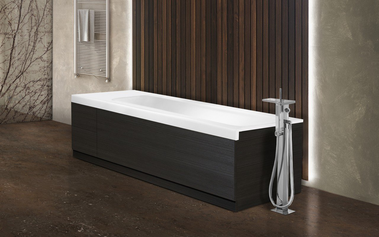 Pure 2d by aquatica back to wall stone bathtub with dark decorative wooden side panels 01 (web)
