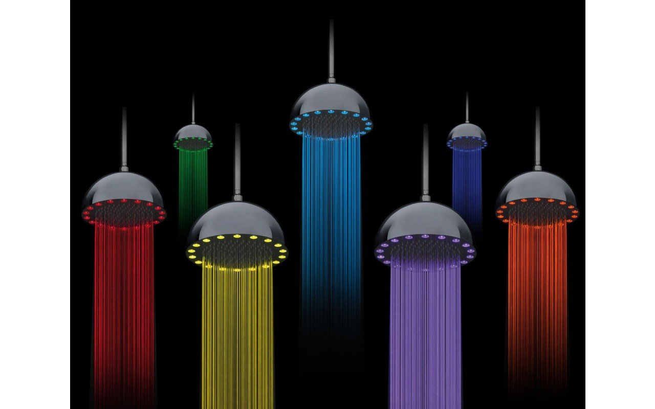 Rainbow Dynamic LED Round Shower Head Chrome 2