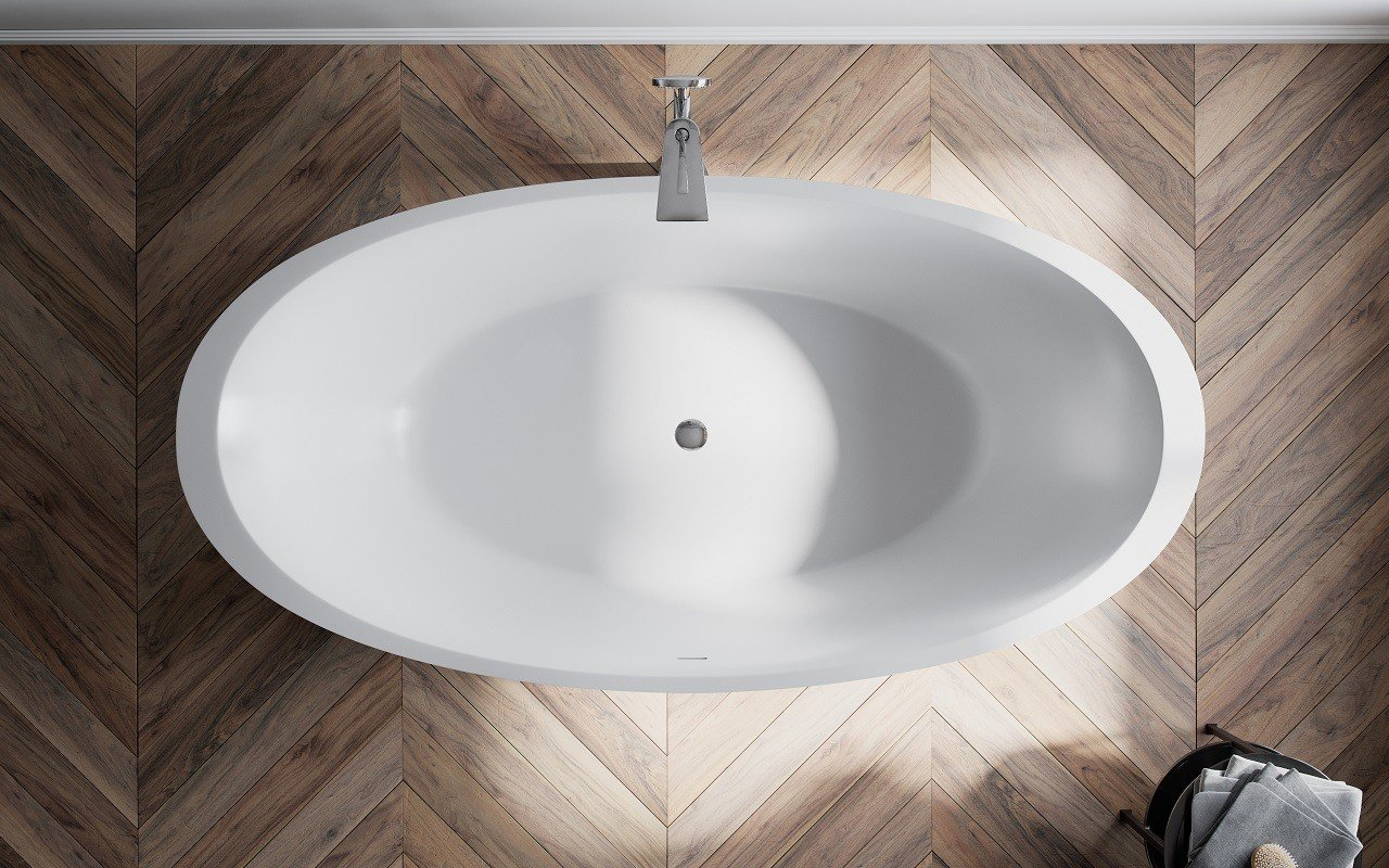 Sensuality Back wht freestanding oval solid surface bathtub by Aquatica (3) Copy