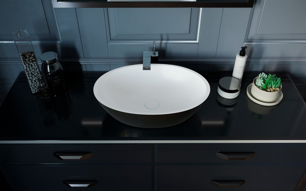 Aquatica Sensuality-Blck-Wht™ Stone Bathroom Vessel Sink picture № 0