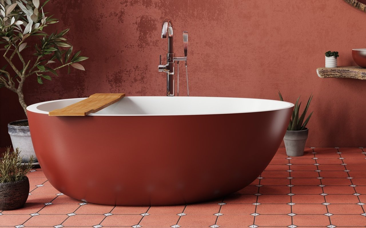 Spoon 2 RAL3009 Freestanding Egg Shaped Solid Surface Bathtub 2 (web)
