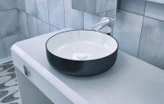 Metamorfosi Black Wht Round Ceramic Vessel Sink (1)