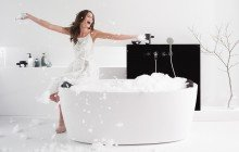 PureScape 174A Wht Freestanding Acrylic Bathtub 1200 1800 1