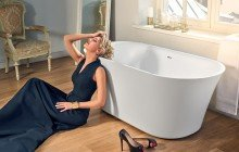 Tulip Wht Freestanding Slipper Solid Surface Bathtub by Aquatica web 0219