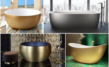 Modern Metal Bathtub and Washbasin Finishes
