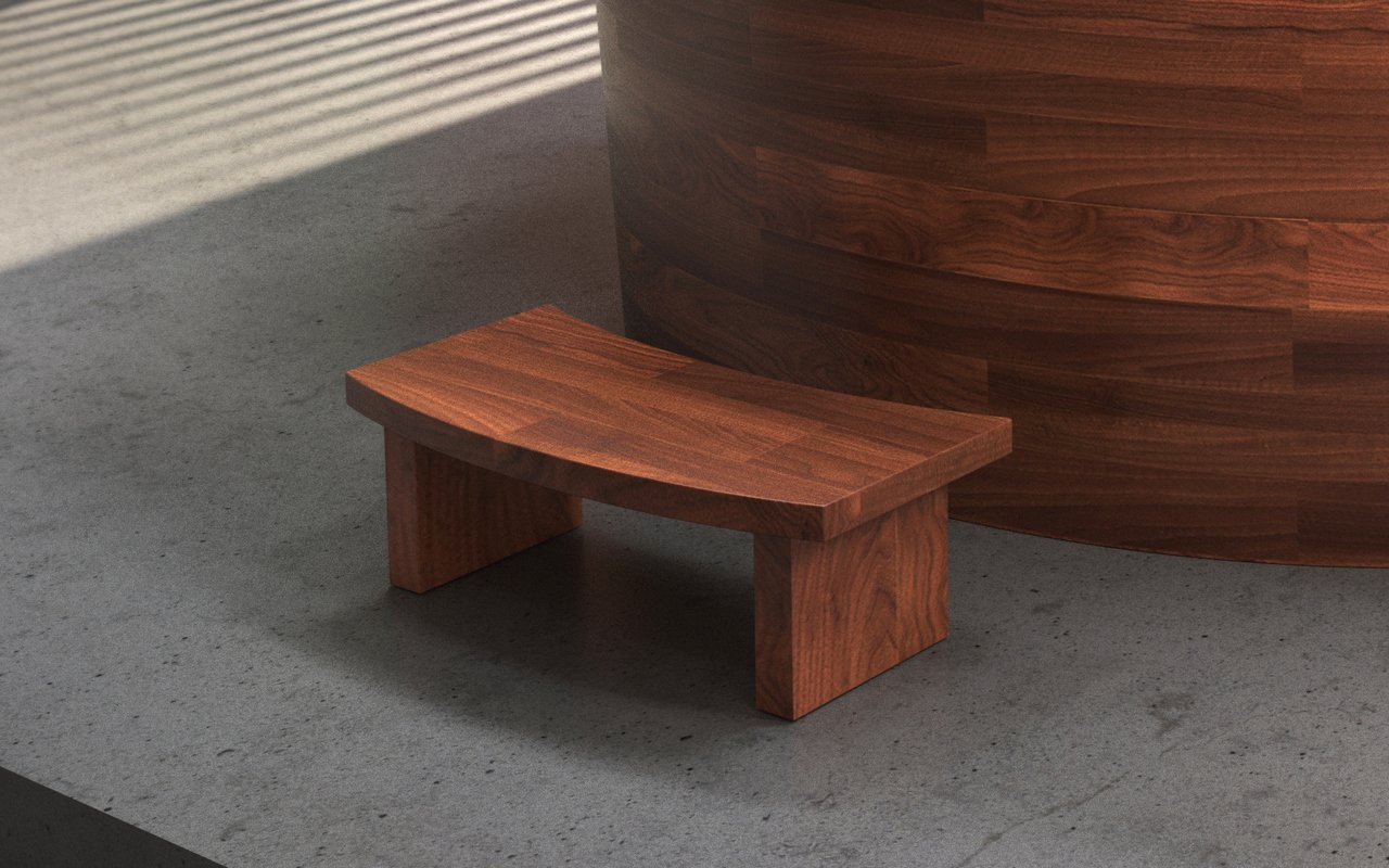 Aquatica True Ofuro Duo Wooden Freestanding Japanese Soaking Bathtub step (web)