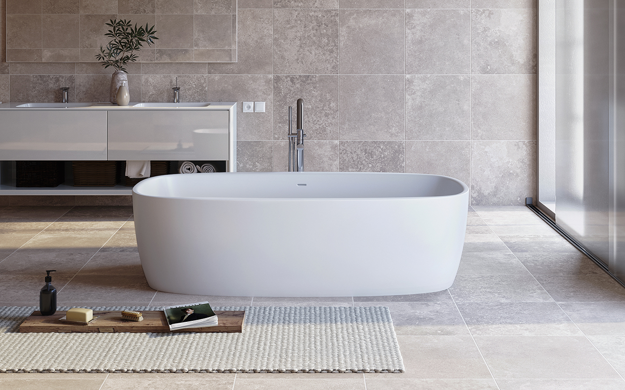 Aquatica Coletta White Freestanding Solid Surface Bathtub