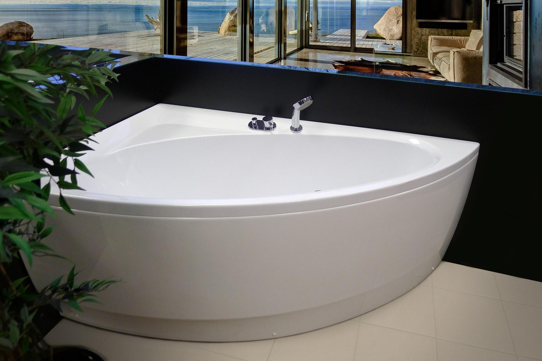 Aquatica idea r wht corner acrylic bathtub for Freestanding tub vs built in