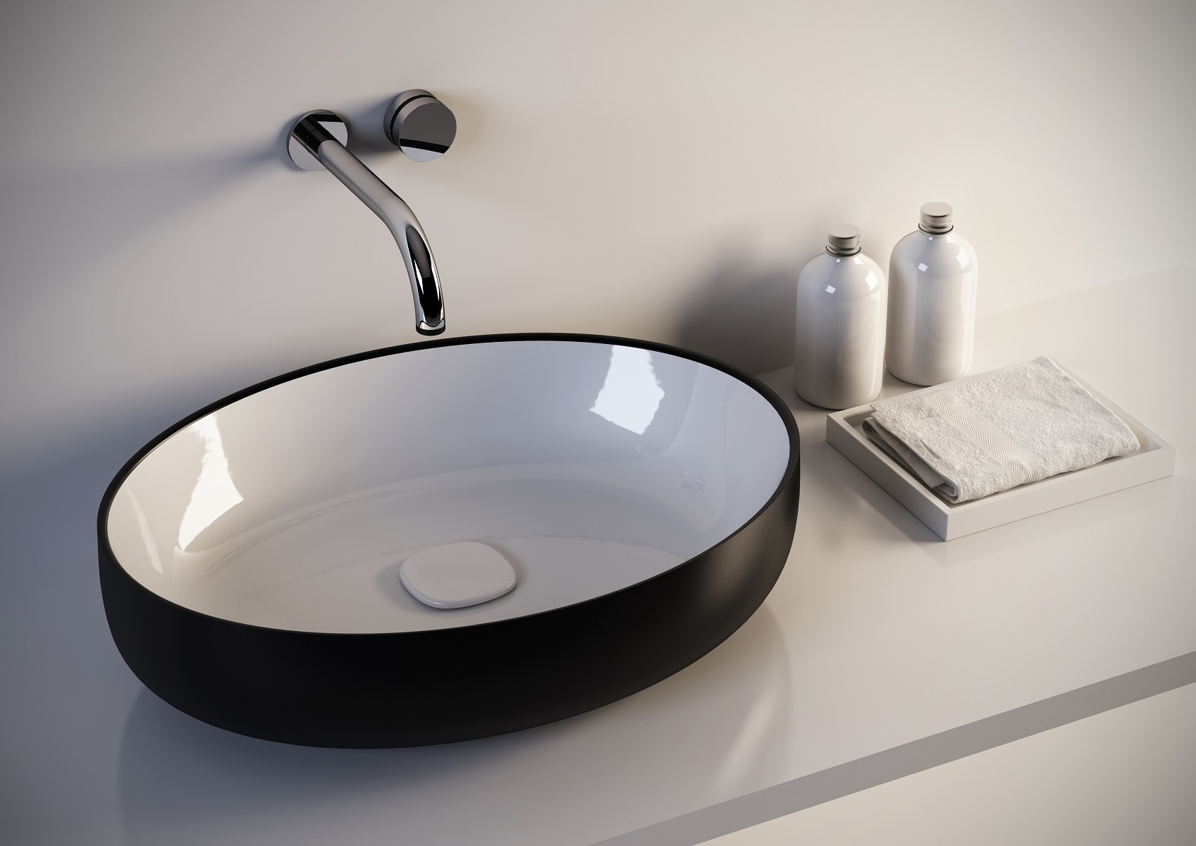 Metamorfosi black wht oval ceramic bathroom vessel sink Black vessel bathroom sink
