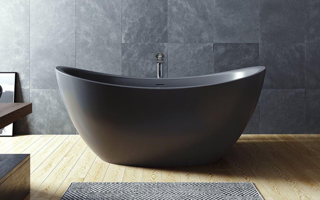 Aquatica purescape 171 black freestanding solid surface for Slipper tub bathroom design