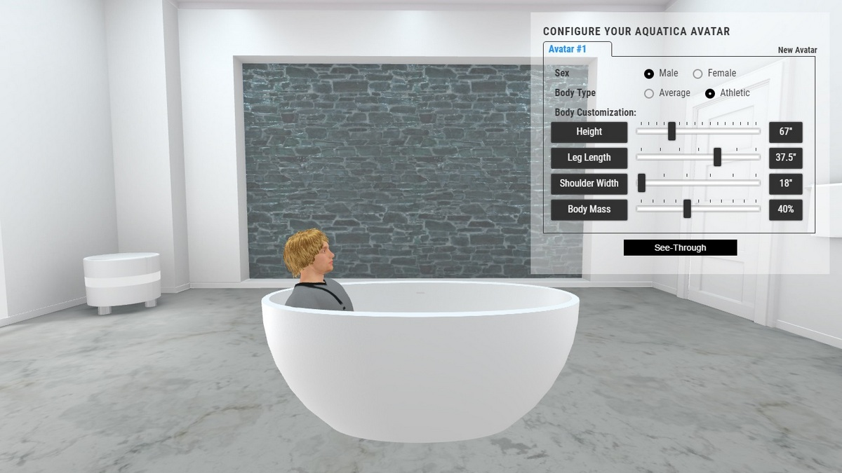 Sensuality Mini Bathtub 3D Body Position