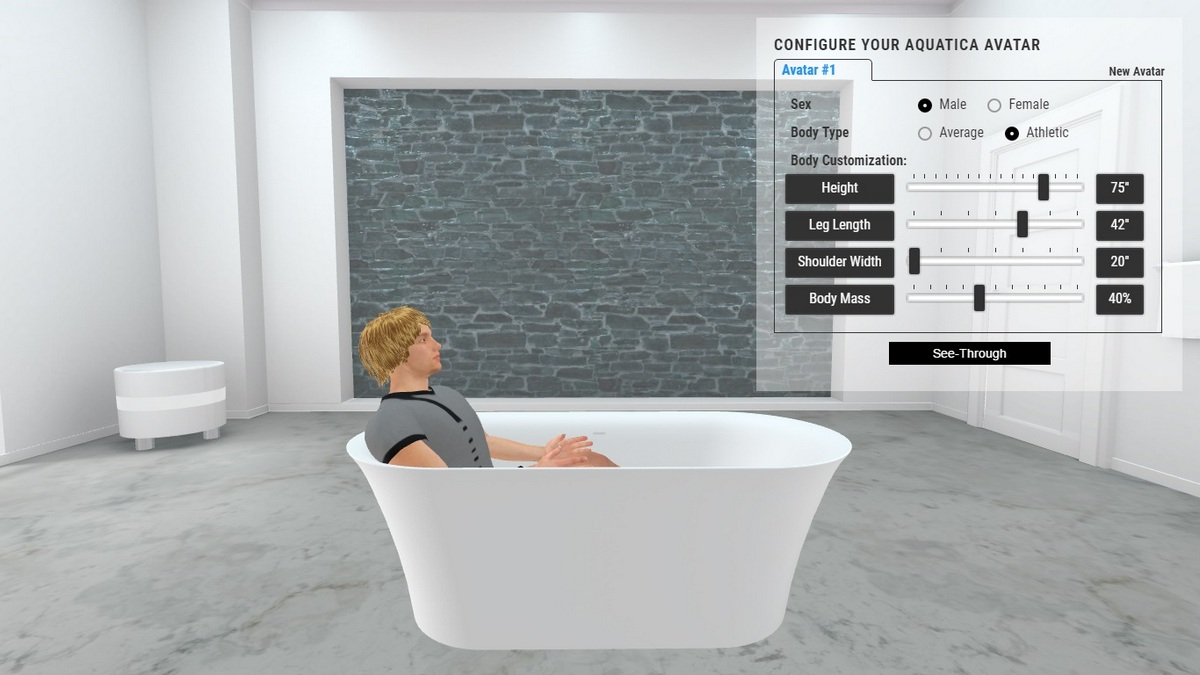 Tulip Grande Bathtub 3D Body Position