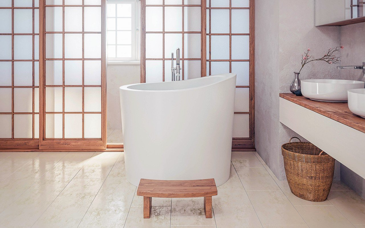 Aquatica True Ofuro Mini Freestanding Stone Japanese Soaking Bathtub web 1